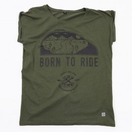 Koszulka Damska 79 Point Born To Ride - Loose Olive
